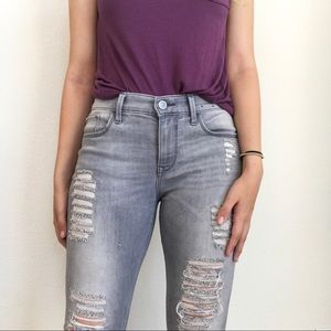 Express Gray Ripped Jeans